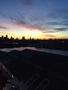QM2 - Sunrise Over Manhattan