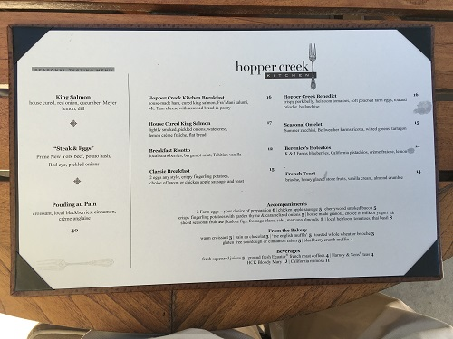 Hopper Creek Menu