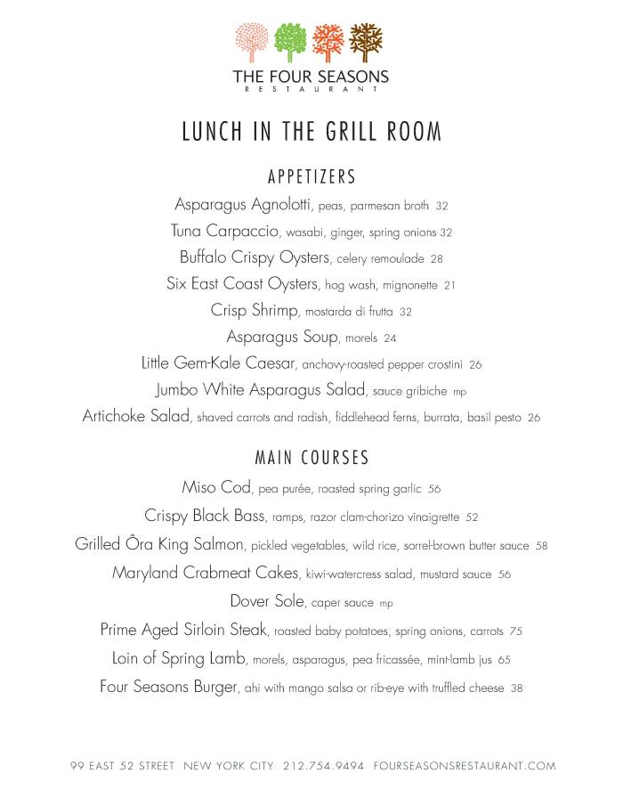 Four Seasons Grill Menu