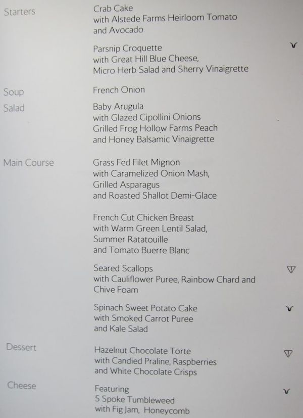 Corcorde Room Sample Menu